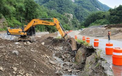 한국 상동광산 사업에서 도로 및 하천 전환 프로그램 지속